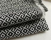 Kimono Fabric Vintage looking Maze In Black White Yarn Dye Polyester Fabric SAYAGATA - 1/2 yard