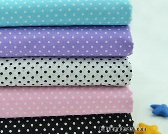 Pastel Fabric with White Polka Dot Cotton Fabric Light Blue Purple Pink Black White Dots Fabric-  1/2 yard