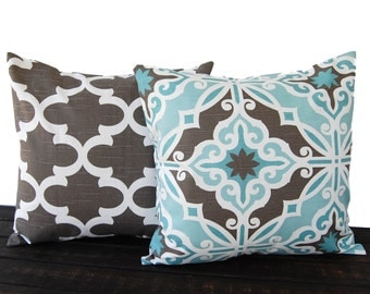 Throw pillow covers pair cushion covers gray brown light blue white pillow cases Harford and Fynn