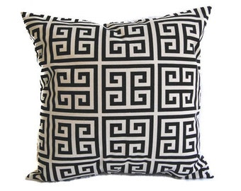 Decorative Throw pillow cover One Black and Natural Greek Key black pillow black cushion cover sham