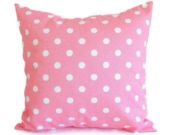 Pink throw pillow cover One cushion cover baby pink throw pillow cover bubblegum pink polka dots nursery decor