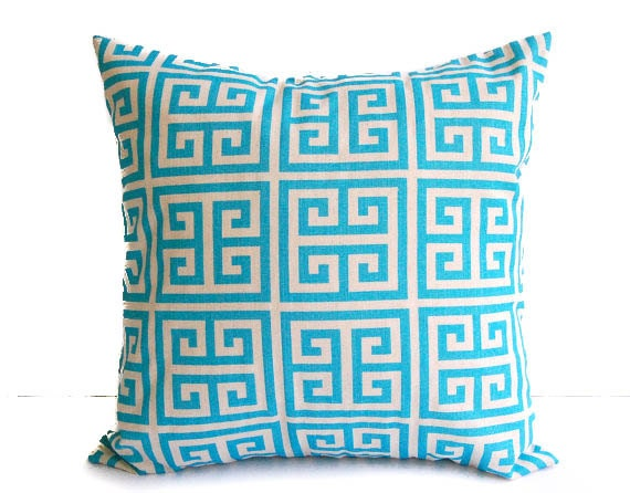 Decorative throw pillows cover pillow sham cushion cover aqua turquoise and natural Greek Key print