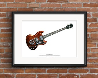 Mick Taylor's Gibson SG Guitar ART POSTER A2 size
