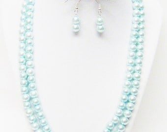 2 Strands Aqua Glass Pearl Necklace/Bracelet & Earrings Set