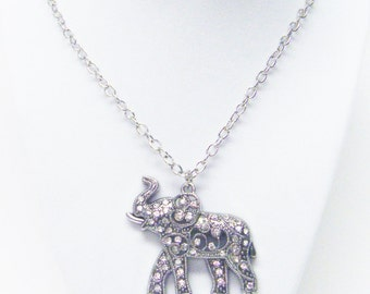 Chunky Silver Plated w/Rhinestone Elephant Pendant Necklace