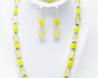 Multiple Types Yellow Lamp Work Glass Bead Necklace & Earrings Set