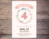 Floral Birthday Invitation Shabby Chic Girl Birthday Party wreath of flower DIY Printable custom - Emma