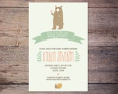 Gender Neutral Baby Shower Invite, Woodland, Forest, Bear Baby Shower Invitation, Baby Boy Baby Girl, Digital File, DIY, Printable