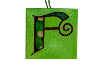 SALE Letter F Miniature Mixed Media Painting, Alphabet, Miniature Painting, Letter F Painting