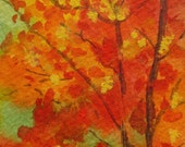 """Greeting Card. Original abstract acrylic miniture painting """"Fall Reds"""", 2.5"""" x 3.5"""" watercolor on watercolor paper, Free Shipping."""