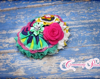 Pink, Turquoise, Yellow, Navy Headband, Baby Girl Hair Bow, Hair Accessory, Fabric Flower Brooch, Navy Hair Clip, Hair Accessories
