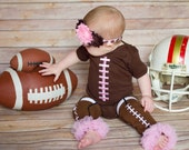 Baby Girl Football Pink Laces Bodysuit or Gown Add Headband Leg Warmers Options New Mom Dad Gift Newborn Outfit Baby Girl Set