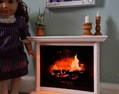 Fireplace With Flickering LED And Accessories American Girl 18 inch Doll Furniture
