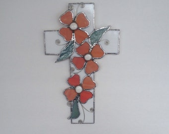 Stained Glass Cross With Peach Dogwood Flowers