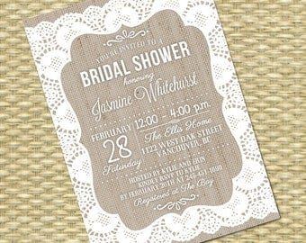 Rustic bridal shower invitation and thank you card denim and lace burlap bridal shower invitation rustic bridal shower burlap lace invitation rustic country shabby chic bridal filmwisefo Choice Image