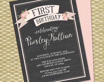 Chalkboard First Birthday Invitation Pink Floral Birthday Invite Girls Birthday Invitations Printable or Printed