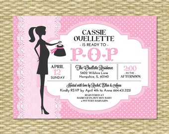 Ready to Pop Baby Shower Invitation Baby Girl Lace Pink Polka Dot Chic Mommy-to-Be Typography Style Sip and See, Any Colors, Any Event