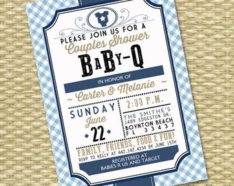 BabyQ Invitation Couples Baby Shower BBQ Baby Boy Baby Shower Sip and See Barbecue Country Western Style, ANY COLOR, Any Event