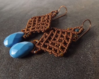 Macrame Earrings, Turquoise Briolette Earrings with Cooper Brown Thread