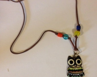 """Owl necklace suede leather 16"""""""