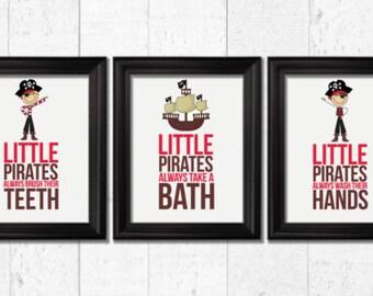 little pirates always take a bath kids decor pirates bathroom decor pirates art