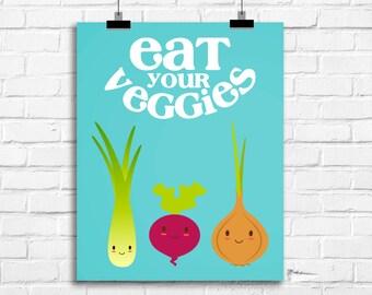 eat your veggies wall art, kitchen art print, kitchen decor, kitchen funny art print, kids art print, vegetables art print, A-1016