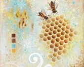 Bees with Honey Comb Matted Art Print titled To Be A Bee from an original painting By Jennifer Barrineau