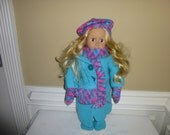 """American Girl Doll Hand Knit Outfit - Coat, Hat, Scarf, MItten, Purse and Ugg style Boots - 18"""" Doll"""