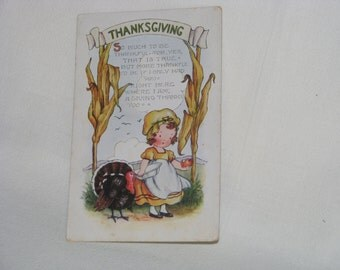 Vintage Whitney Made Unused Embossed Girl with Turkey Thanksgiving Post Card