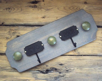 Shabby Cottage Coat Rack - Industrial Chic Scarf Holder/Jewelry Hanger - Rustic Wooden Towel Rack - Greige Decor - Weathered Wood Wall Hooks