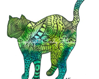 Digital art, digital download, cat, kitten, cats, Zentangle art, feline, cat art, Zentangle cat,