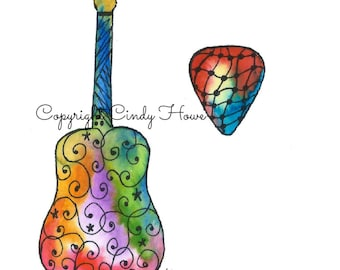 Digital art, guitar, acoustic guitar, guitar picks, Zentangle art, Zentangle guitar, musical instruments,bluegrass, B flat quote
