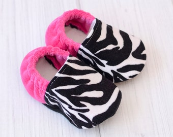 Baby Girl Walking Shoes - Pink Zebra - Toddler Shoes for Girls - Newborn Baby Girl Shoes - Baby Girl Booties - 1301