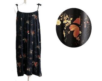 70s printed summer dress  sleeveless  small