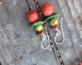 NEW COLORS! Red Coral Orange and Green Salwag Seeds Dangle Earrings