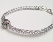 Viking knit bracelet, trichinopoly, stainless steel with slider bead