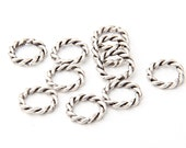 Silver Plated Twisted Jump Ring Connectors, 14mm, 10 pieces // SPC-145