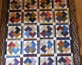 Deck of Cards lap quilt in Buggy Barn fabrics, orange, blue, green, off white, eggplant, quilt, 53x63 inches, Material Things, handmade,