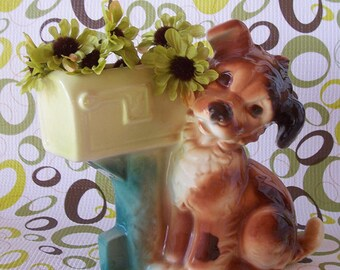 SALE Vintage Royal Copley Ceramic Planter Dog Puppy by Mailbox