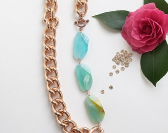 chunky rose gold necklace | sea green acrylic nuggets | handmade jewelry