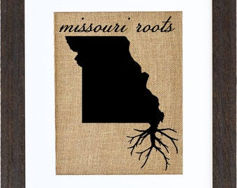 Missouri Roots, Framed Burlap Art, Home Decor, Wall Art, Burlap, State Roots, Frame Included