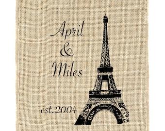 Paris Monogram Unframed, Eiffel tower, French Burlap Art, Wedding Monogram, Burlap wedding gift
