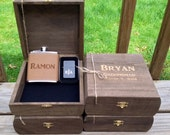 Engraved Groomsmen Gift Set of 7 Cigar Box/Flask Set - Laser Engraved Name - FREE SHIPPING - Stained and Personalized - Brown Leather Flask