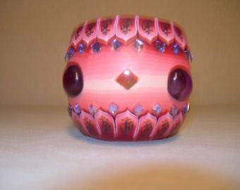 Fimo glass votive candle holder (bejewled Red)