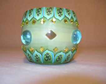 Fimo glass votive candle holder (bejewled Green)