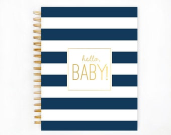 Baby Book, NAVY STRIPE Baby Memory  Book, Personalized Baby Book,  Baby Books, The Sweet Rhino
