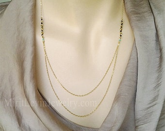 Double 2 strand layered Necklace statement birthstone Beadwork bib necklace Layer Two Tier Delicate gold 14K Gold  strand