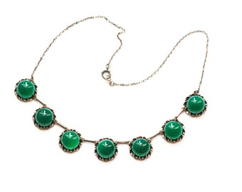 Art Deco RIVIERE Necklace Sterling Opaque Green Glass Cabochon Open Back Unfoiled 1920s