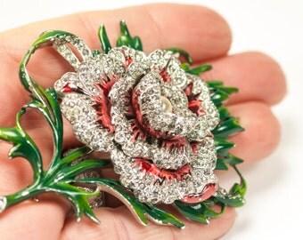 REJA Flower Brooch Enamel & Rhinestone Carnation HUGE