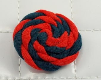 Orange and Navy Rosette Clip